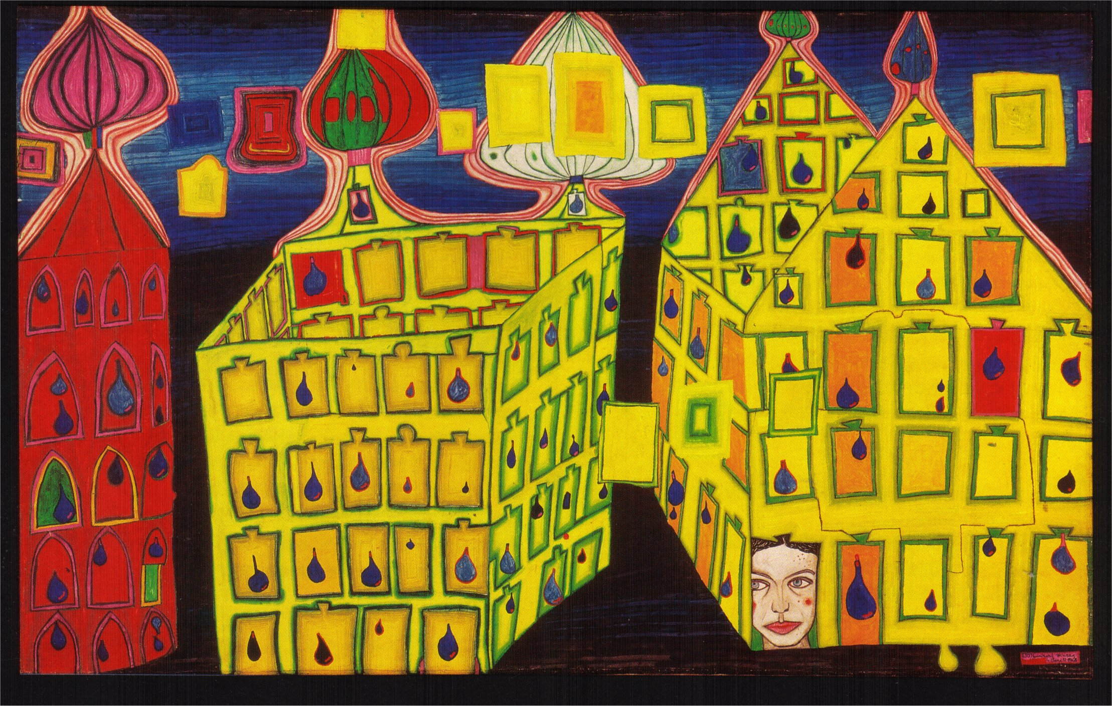 Friedensreich-Hundertwasser-Paintings-1966-maisons-jaunes-jalousie